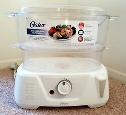 Oster Food Steamer 2 Tiered Tray Ckstst7711-013 White Pre-owned