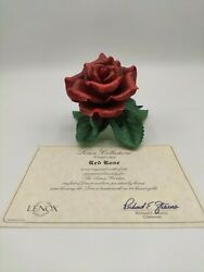 Lenox Red Rose Garden Sculpture Porcelain Figurine New In Box With Coa