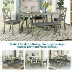 Us 6pcs Gray Rustic Style Wood Dining Table Set Bench 4 Chairs Kitchen Home Sets