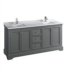Fresca Windsor 72 Gray Textured Traditional Double Sink Bathroom Cabinet W/ ...