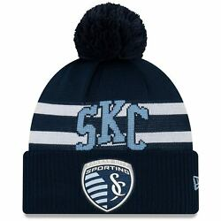 Sporting Kansas City New Era On-field Stoppage Time Cuffed Knit Hat With Pom -