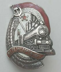 Rare Badge Of The Ussr To The Honorary Railwayman Silver