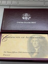 1993-s Thomas Jefferson 250th Anniversary Proof Silver Dollar Coin