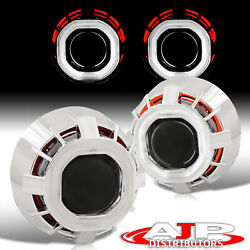 White Red Dual Ccfl Halo Rings Shrouds 2.5 Projector Headlight Retrofit Hid