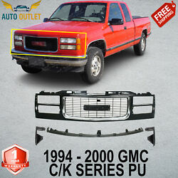 New Primed Insert And Shell Grille W/ Chrome +filler For 94-2000 Gmc C/k Series Pu