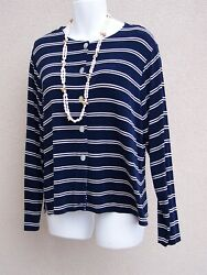 Coldwater Creek Nautical Travel Knit Top Size Xxl 2xl 4th Of July Shirt Blouse
