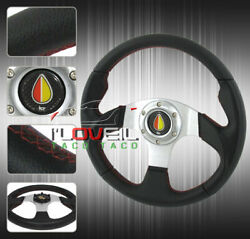 320mm Jdm 6 Bolt Mounting Hole Steering Wheel Pvc Leather Wrapped Black Silver
