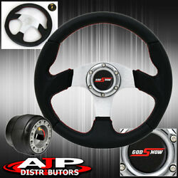 For 90-93 Accord 320mm Black Pvc Silver Center Red Stitching Steering Wheel Hub