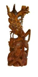 Huge Antique Intricate Wood Carved Asian Lion /tiger Sculpture Statue 33.5 Tall