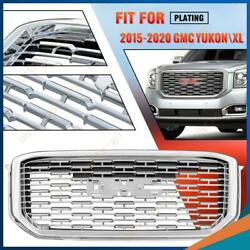 Fits 2015-2020 Gmc Yukon Xl Denali Mesh Style Front Upper Grille Abs Full Chrome