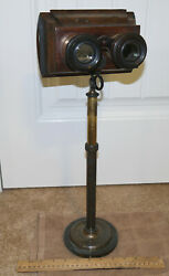 1860s Brass Pedestal Wood Stereoscope For Full Size Glass Stereoviews W/ 1 View