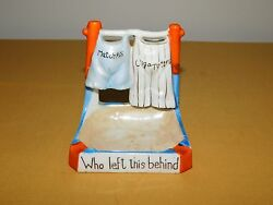 Vintage Tobacco Who Left This Behind Matches Cigarettes Ceramic Ashtray Holder