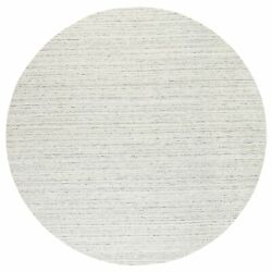 11and03910x11and03910 Hand Loomed Natural Wool Plain Modern Design Gray Round Rug R63041