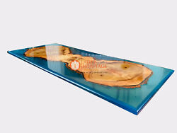 Blue Resin River Acacia Wooden Dining Custom Table Epoxy Ocean Table Top Decors
