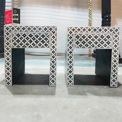 Pandora Hand Painted Bone Inlay Pattern Bedside Tables Pair Blackmade To Order