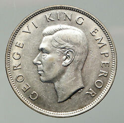 1943 New Zealand Uk King George Vi Shield Silver 1/2 Half Crown Old Coin I92621
