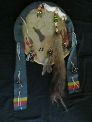 Native American Ceremonial Leather Shield Painted Animal Clan Sd-062105689