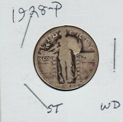 1928 P Standing Liberty Quarter Dollar 90 Silver Coin Natural Look Ag Store