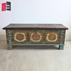 Wooden Carved Artistic Box Hand Made Chest With Brass Fittiings Made To Order