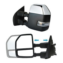 Towing Mirrors For 2017 2018 2019 2020 Ford F250 Sdandnbsppower Heated Signal Chrome