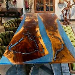 Natural Wood Acasia Epoxy Dining Sofa Center Table Iron Stand Deco Made To Order