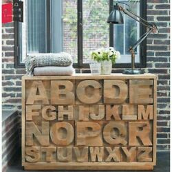 Distressed Wooden Sideboard Alphabet Chest Of 18 Drawers India Made To Order