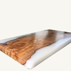 White Furniture Coffee Table Living Room Epoxy Table Walnut Wooden Made To Order