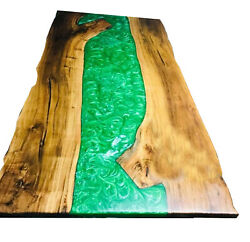 Green Resin River Epoxy Table Acacia Wooden Furniture Din Top Deco Made To Order