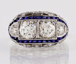 Art Deco 2.90ct Round And Sapphire Diamond Antique Engagement Ring 14k White Gold