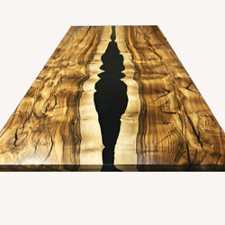 Black Epoxy Side Center Dining Table Wooden Walnut Handmade Decor Made To Order