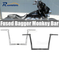 Black Chrome 12 14and039and039 16and039and039 Monkey Bagger Bar Handlebar For Harley Flhx Flht 86+