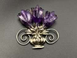 Vintage Mexico Amethyst Flower Sterling Silver Pin Brooch