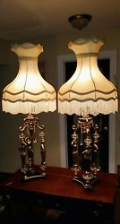 Vintage French Deco Brass And Crystal The 3 Graces Figural Greek Goddess Lamps