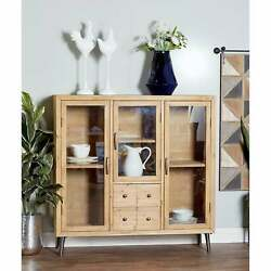 Rustic 51 X 51 Inch Wood And Glass Multipurpose Cabinet By Brown N/a