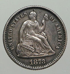 1872 United States Us Silver Seated Liberty Antique Silver Half Dime Coin I93032
