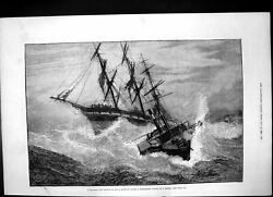 Old Antique Print Distressed Vessel Storm Rescued Rope Channel Tug 1881 19th