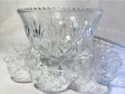 Vintage Anchor Hocking Arlington Glass Punch Bowl Set With 11 Cups And Ladle