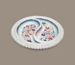 White Marble Handmade Dining Table Decor Fruit Bowl Inlay Double Sided Arts Deco
