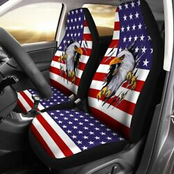 Bald Eagle Usa Flag Car Seat Covers Custom Car Accessories Fourth Of July Gifts