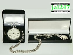 Chester 1891.heavy Large Silver 15j Fusee Chronograph Pocket Watch And Heavy Chain