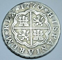 1770 Spanish Silver 1 Reales Antique 1700s Colonial Cross Pirate Treasure Coin