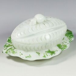 Antique French Vallerysthal Opaline Milk Glass Reddish On Melon Butter Dish Box