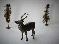 Vintage Unknown Diecast Lead Stag And 2 German 1920s Bottle Brush Christmas Trees