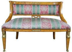 Antique Egyptian Revival Olive Burlwood Parlor Settee Bench Neoclassical 45