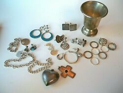 Sterling Silver Lot Of Jewelry Rings, Pendants, Armington, Cufflinks, Chains