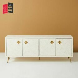 Bone Inlay Optical Design Media Console White Made To Order