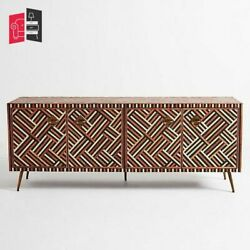 Bone Inlay Optical Design Media Cabinet In Brown Made To Order