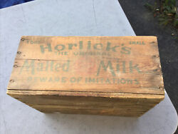 Antique Vintage Horlick's Malted Milk Small Wooden Wood Crate Box Advertising