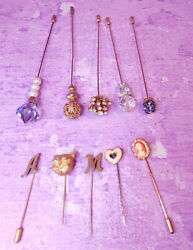 Lot Of 10 Gold Vintage Hat Pins Stick Pin Glass Rhinestones Cameo Heart Cat Face