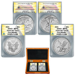 2021 1 Type 1 And Type 2 Silver Eagle Set Ms70 First Release 2 Coin Set